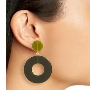 Madewell Green Resin Circle Statement Earrings